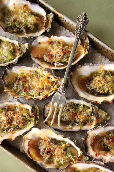 Baked oysters on a tray